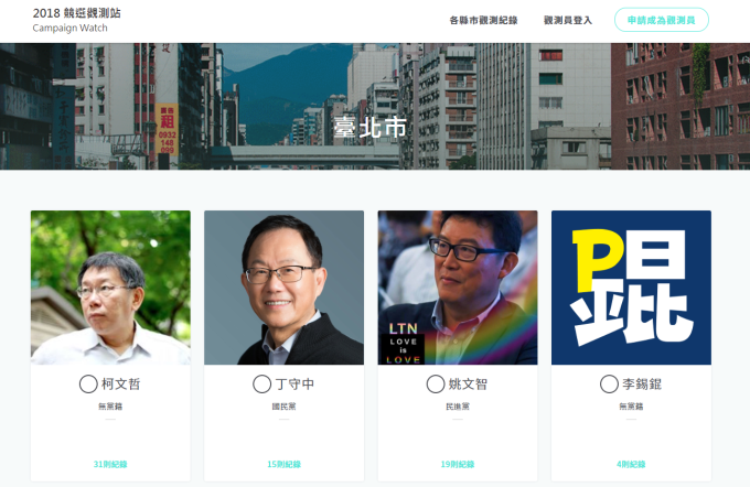 以臺北市為例,可上傳或瀏覽各位候選人的競選宣傳紀錄。 圖片來源│2018 競選觀測站