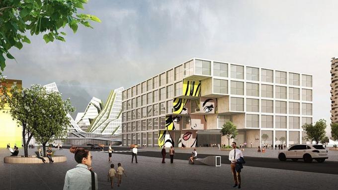 台開花蓮「新天堂樂園2」將引進宜必思酒店合作建築示意圖。(圖:台開提供)