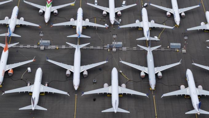 遭禁飛的波音737 MAX停放在停機坪(圖片:AFP)