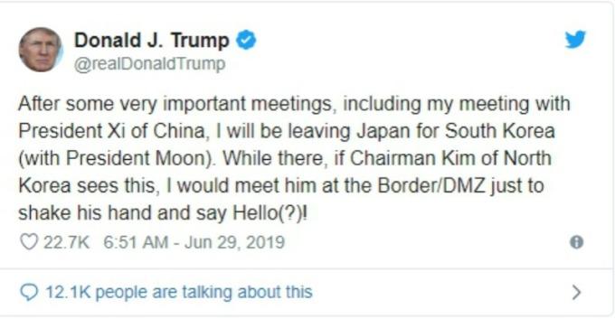 川普向北韓領導人金正恩發出邀請。(圖片:翻攝川普推文)