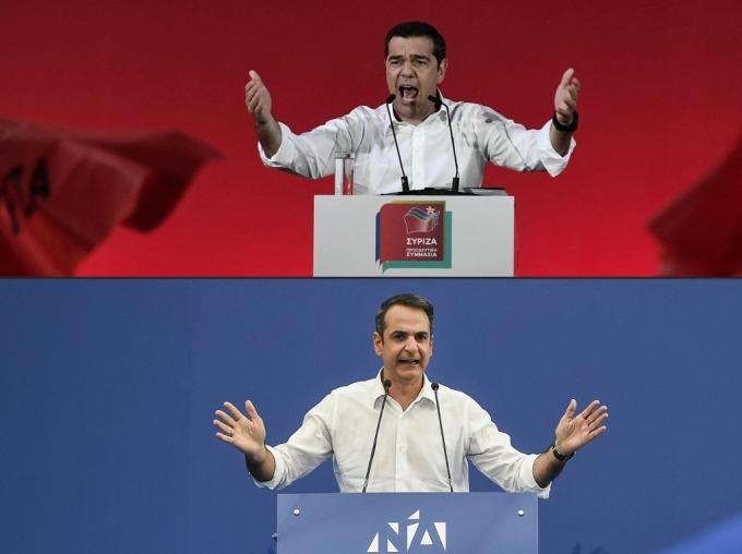 齊普拉斯 (上) 與新民主黨領導 Kyriakos Mitsotakis(圖: AFP)