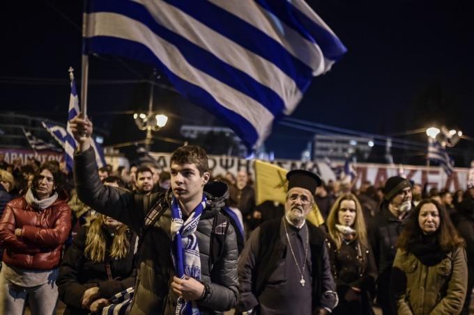 與北馬其頓的協議引來國內抗議 (圖: AFP)
