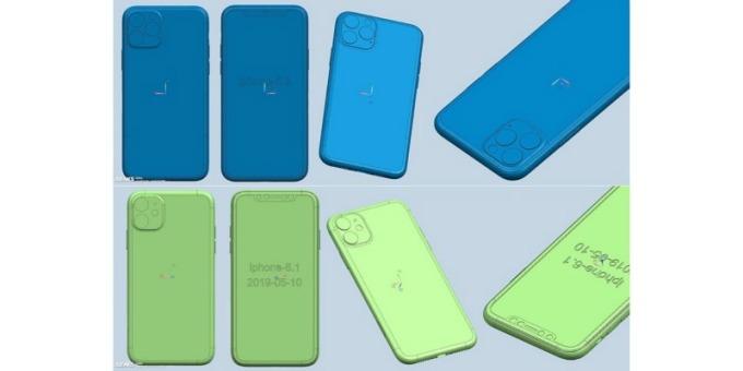 新機 iPhone XI、XI Max 和 XIR 相關的 CAD 渲染圖 (圖片:翻攝自 OnLeaks 與 Appleinsider)