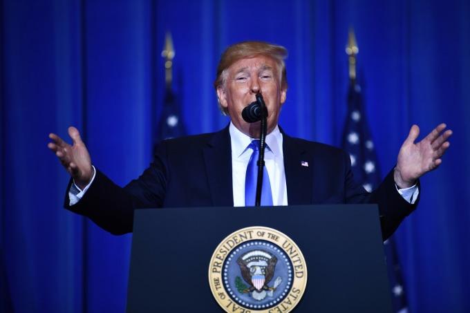 川普週四在白宮指責伊朗挑釁性和敵意的行動,並呼籲各國譴責伊朗。(圖片:AFP)