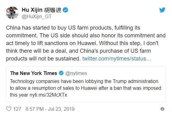 胡錫進週二推文表示,中方已經開始兌現承諾採購美國農產品,美國理應兌現承諾及時移除華為禁令 (圖片:翻攝胡錫進推特)