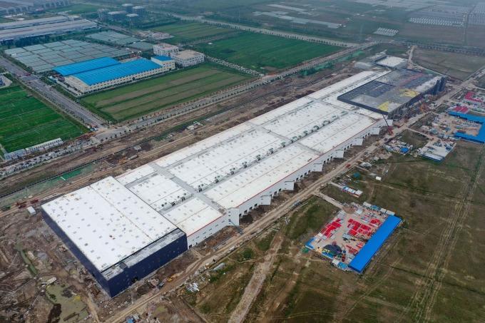 特斯拉上海超級工廠鳥瞰圖。(圖片:AFP)