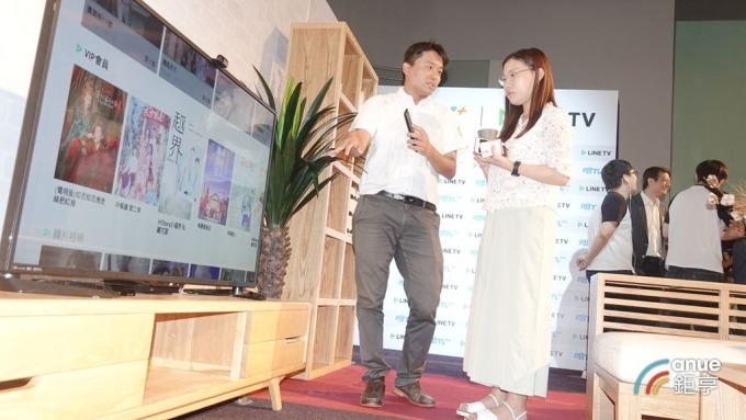台數科與 LINE TV 合作,並公布旗下「哈 TV+」智能電視盒的創新應用成果。(鉅亨網記者張欽發攝)