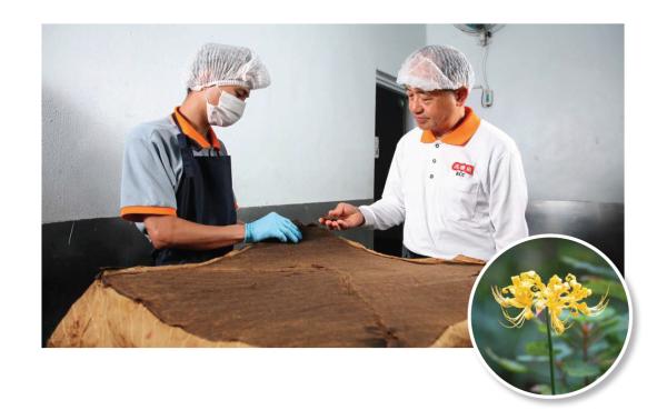 治療阿茲海默症的解方,就藏在金花石蒜裡,而滋養花朵所需的胺基酸培養液,竟然是來自醬油工廠的廢棄豆渣。上圖右為高慶泉董事長高志堅。