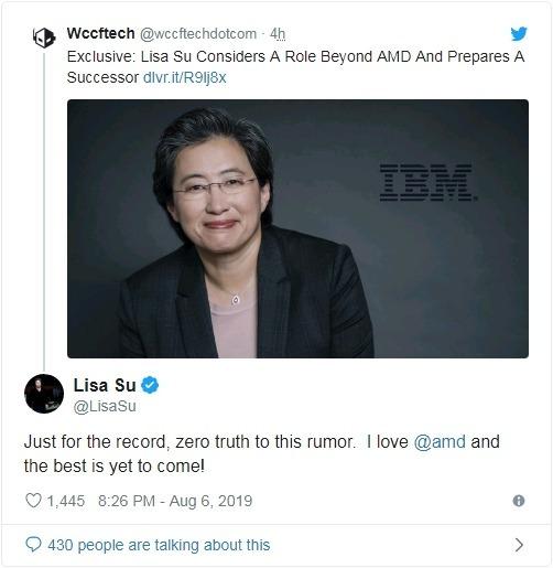 蘇姿丰於 Twitter 發文澄清可能離開 AMD 之傳聞 圖片:蘇姿丰 Twitter