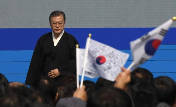 青瓦台不續簽 GSOMIA 南韓國內看法正反兩極。(圖片:AFP)