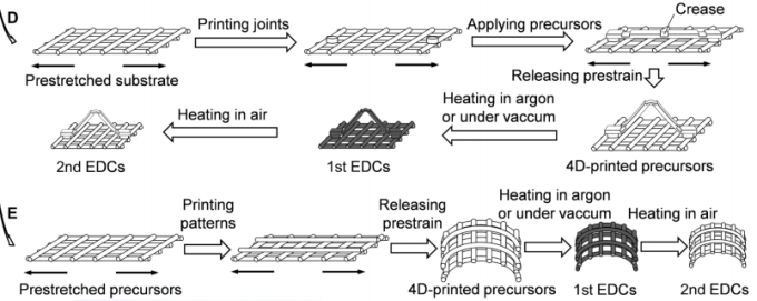 D、E 為兩種 4D 列印的方法 (圖片來源:呂堅教授論文)