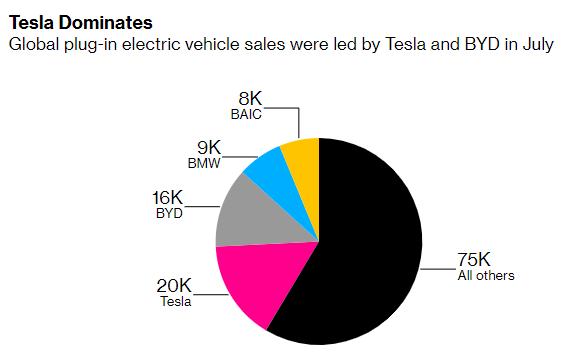 各電動車品牌七月份銷售占比 (圖片:彭博社)