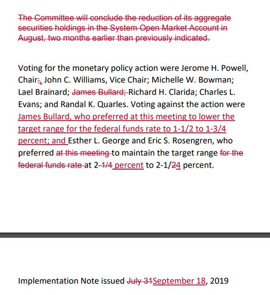 Fed 9 月、7 月聲明對比 圖片來源:CNBC