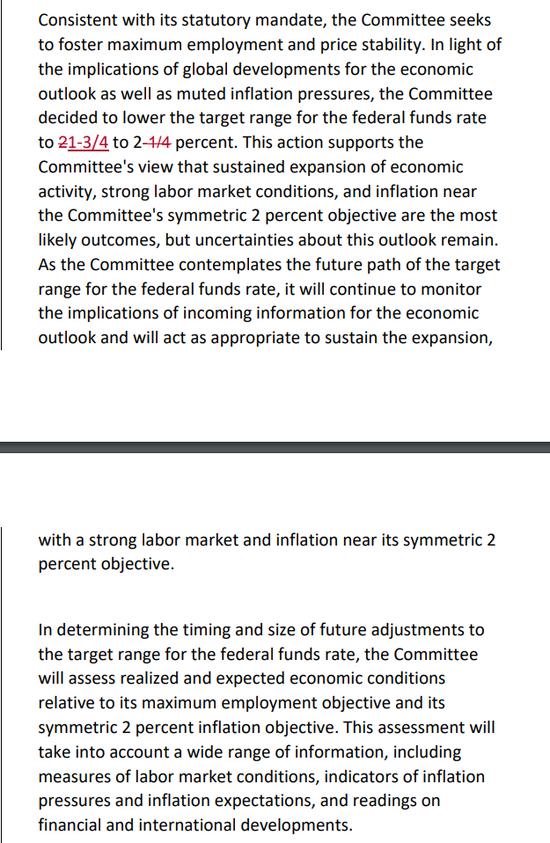 Fed 9月、7月聲明對比 圖片來源:CNBC