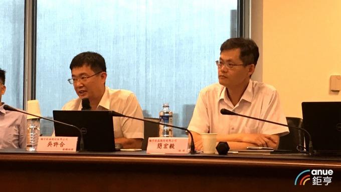 彩晶副總經理吳許和(左)、財務處經理簡宏毅(右)。(鉅亨網記者劉韋廷攝)