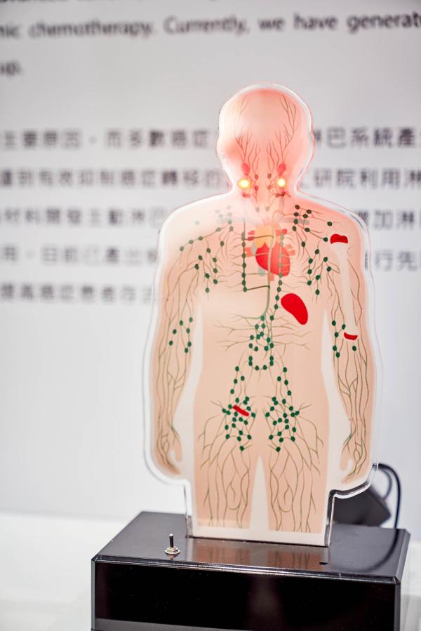 工研院改良人體組織中自然存在的黏多醣物質「透明質酸」(Hyaluronic acid;HA),開發出「主動淋巴標的奈米載體」,以淋巴組織為藥物目標,增加淋巴組織的曝藥率,解決現有癌症藥物不易進入淋巴組織的困境。