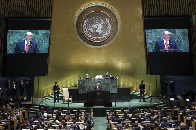 川普週二在聯合國發表第三場演說。(圖片:AFP)