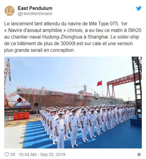 法媒表示解放軍釋出新的兩棲突擊艦 (圖片:Zero Hedge)