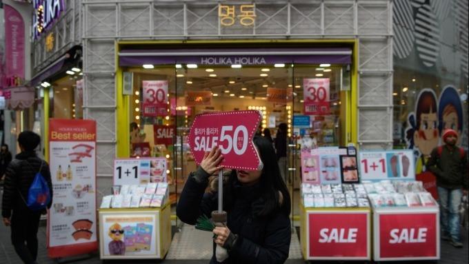 南韓9月CPI出現負成長 創1966年來首見  (圖片:AFP)