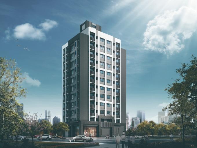 全案基地面積 583 坪、僅規劃 120 坪的建築用地,讓建蔽率降低至 20%,成為當地少數有「前庭後院」的大樓建案。(圖 / 業者提供)