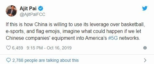 FCC 主席 Ajit Pai 在推特上暗示美國應小心華為 (圖片: 推特)