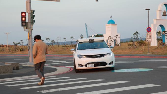 工研院自駕車首航南寮漁港,人車混合道路試驗促加速商轉。(圖:工研院提供)
