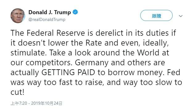 川普推文再對 Fed 下指導棋。(圖片:翻攝川普推特)