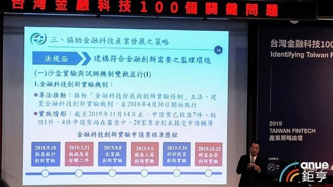 顧立雄:二大基礎加持 估台灣10年後可成金融科技創新領導中心。(鉅亨網記者陳蕙綾攝)