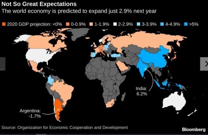 全球經濟低迷,前景悲觀 (圖片: 彭博社)