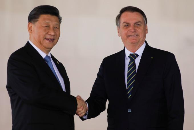 中國國家主席習近平與巴西總統波索納洛 (圖片: AFP)