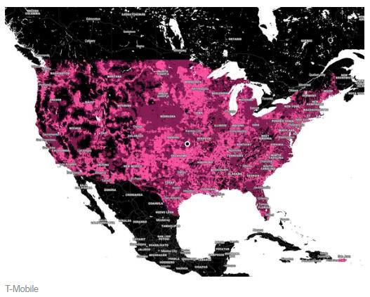 深紅色區域為 T-Mobile 的 5G 覆蓋區域 (圖片:businessinsider)