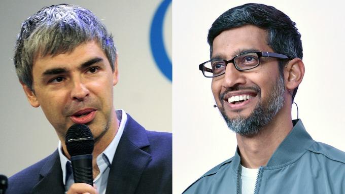 谷歌聯合創始人之一Larry Page(左)宣布卸任母公司Alphabet執行長,並將由Sundar Pichai(右)接任(圖片:AFP)