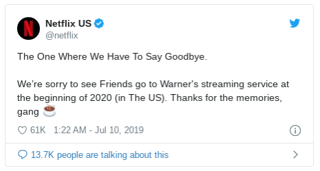 Netflix 自 2020 年起不再播放熱門美劇《六人行》,該劇轉播權由華納串流服務搶下。