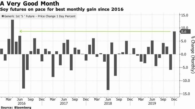 芝加哥期貨美國大豆創下最佳月度漲幅 (圖片: 彭博社)