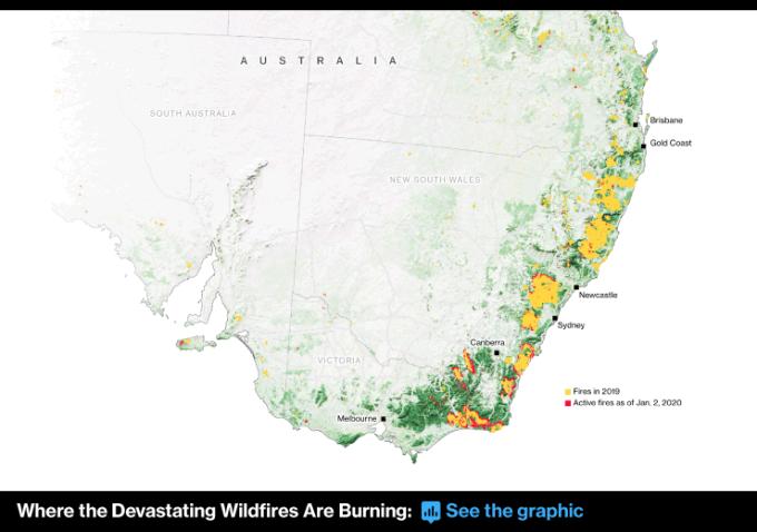 澳洲野火燃燒範疇 圖片:Bloomberg