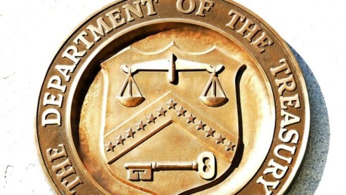 美國財政部徽章。(圖:AFP)