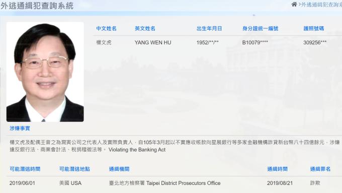 潤寅案詐貸386億元 主嫌楊文虎在美落網押解返台。(圖:擷取自調查局官網)