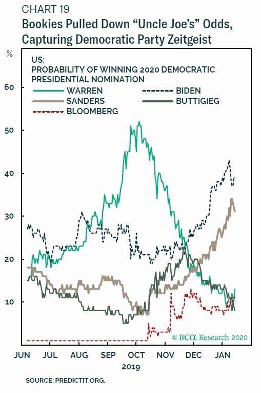 2020 年美民主黨黨內初選各總統參選人之支持率 圖片:BCA