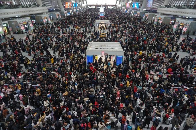 往年的中國春運景象 (圖片:AFP)
