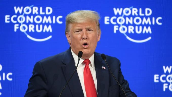 美國總統川普於「2020年達沃斯世界經濟論壇」中發表演講(圖:AFP)