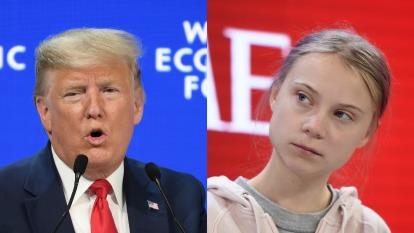 川普暗諷瑞典少女 (右),抨擊環保「厄運先知」。(圖片:AFP)