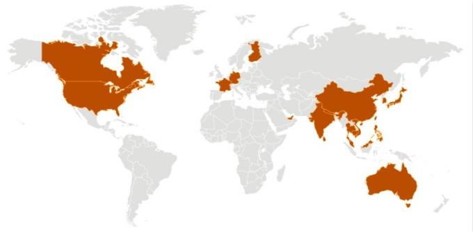 新型冠狀病毒確診國家 (咖色) 分布圖 。(圖片:CDC)