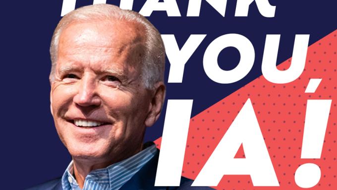 民主黨總統參選人拜登在愛荷華州黨團會議後在社群媒體向愛荷華州的選民表達感謝。(網路截圖:facebook/Joe Biden)