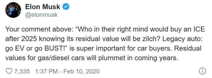 馬斯克表示汽油車的剩餘價值將顯著下降。(圖片:electrek)