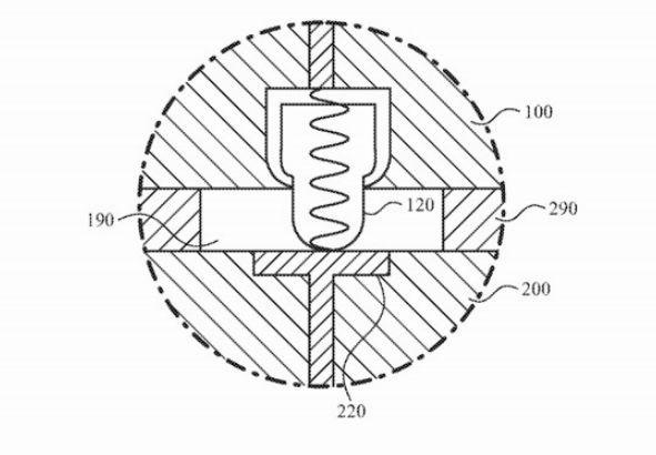 可用來連接 Apple Watch 和模塊之間的 pogo pin 設計草圖 (圖片:appleinsider)