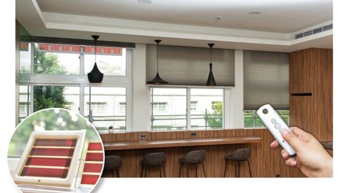 染敏電池電動窗簾不需另外佈線或安裝電池,利用環境光源就能100%發電,為智慧家電的應用開創 新動能。(台塑公司提供)
