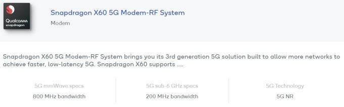 高通 (QCOM-US) 推出全球首個 5 奈米 5G 基頻晶片 Snapdragon X60 (圖片:高通官網)