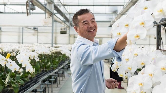 青山蘭花董事長劉青山優異的栽種技術,曾讓蘭花拿下世界冠 軍。(青山蘭花提供)