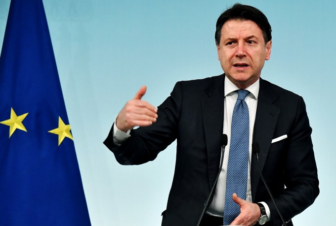義大利總理孔蒂 (Giuseppe Conte) 周一宣布全國封鎖。(圖片:AFP)