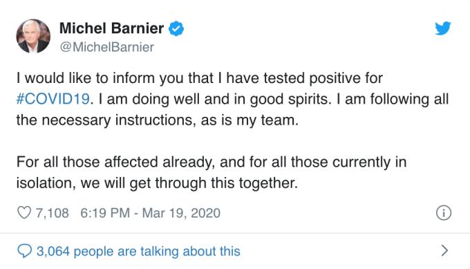 Barnier 在推特上證實確診消息 (圖:Bloomberg)